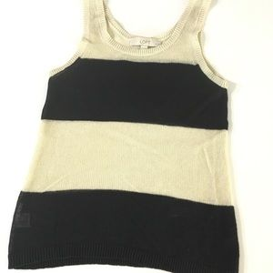 Loft Black and Tan Sheer Knit Tank